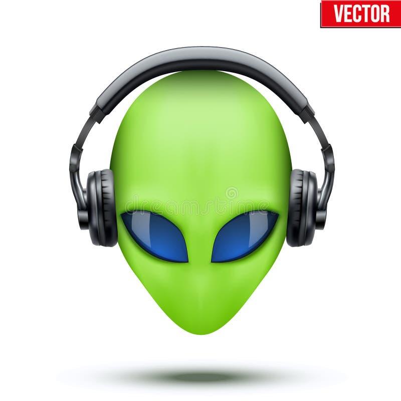 Αλλοδαπό κεφάλι με τα ακουστικά διάνυσμα διανυσματική απεικόνιση