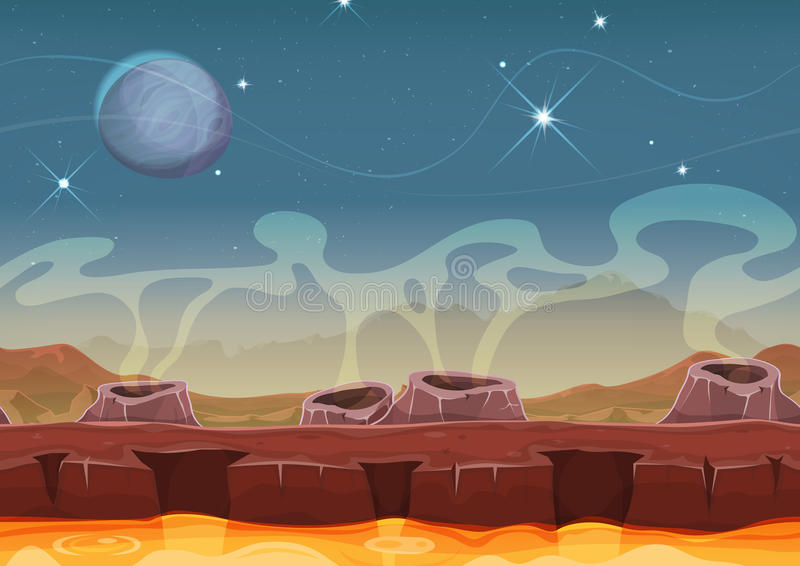 Αλλοδαπό τοπίο ερήμων πλανητών φαντασίας για το παιχνίδι Ui διανυσματική απεικόνιση