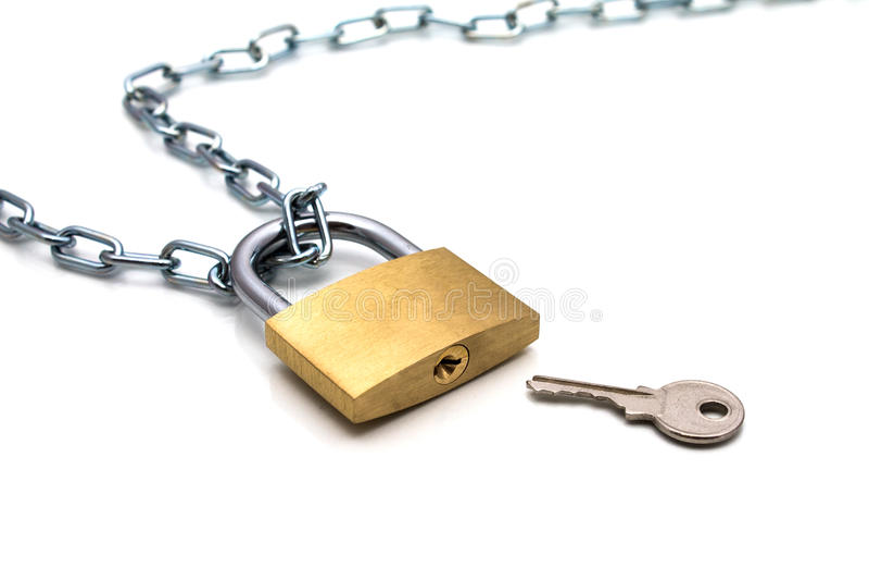 Αλυσίδα και κλειδί κλειδαριών στοκ εικόνες