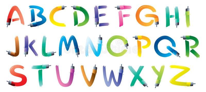 Αλφάβητο βουρτσών χρωμάτων ελεύθερη απεικόνιση δικαιώματος