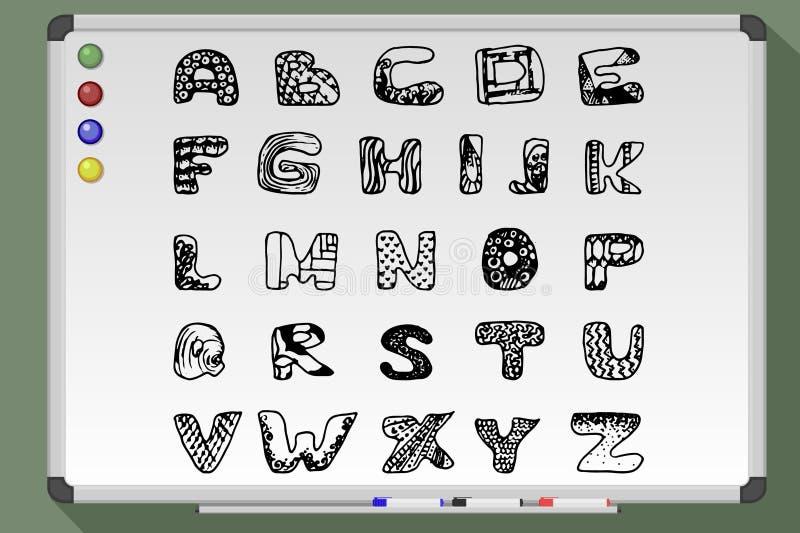Αλφάβητο γραψίματος Whiteboard διανυσματική απεικόνιση