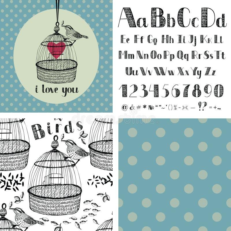 Αλφάβητο και πουλιά σχεδίων χεριών απεικόνιση αποθεμάτων