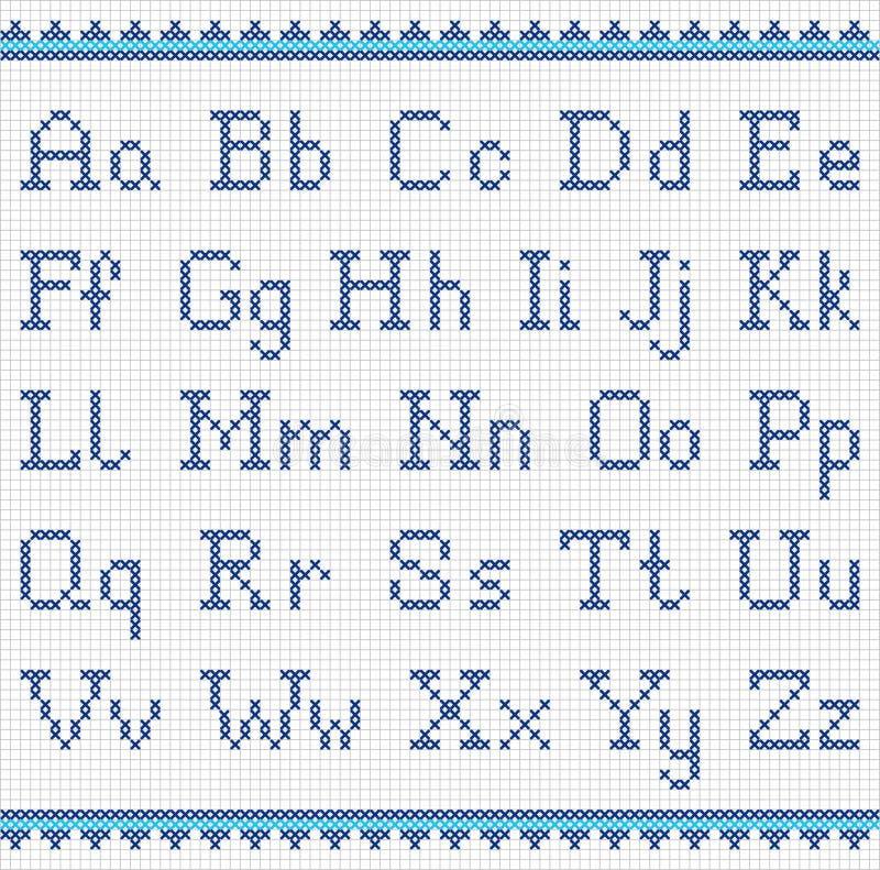 Αλφάβητο κεντήματος κεφαλαίος και πεζός διανυσματική απεικόνιση