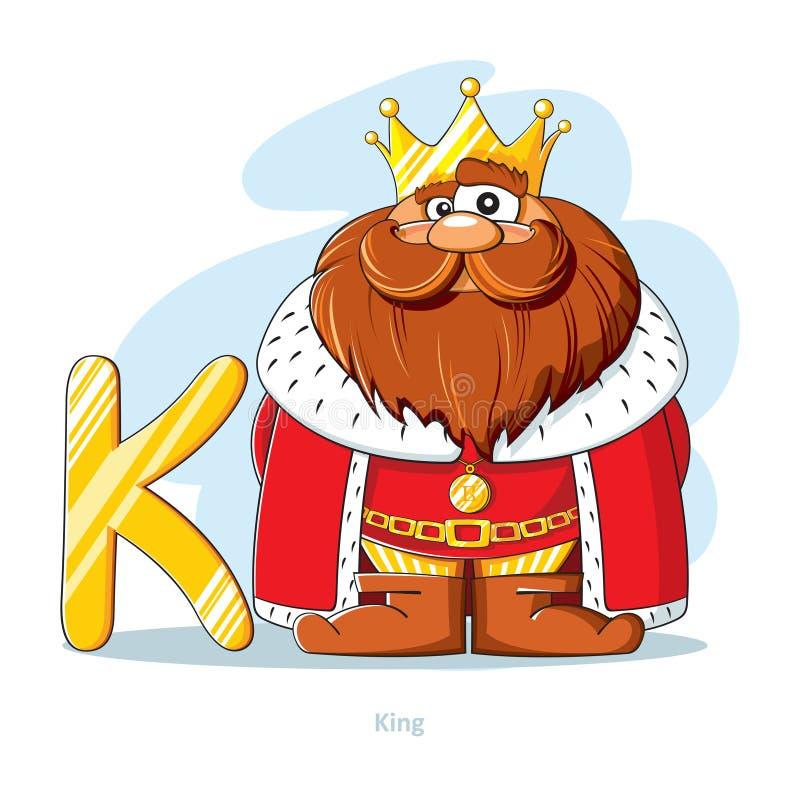 Αλφάβητο κινούμενων σχεδίων - γράμμα Κ με τον αστείο βασιλιά διανυσματική απεικόνιση