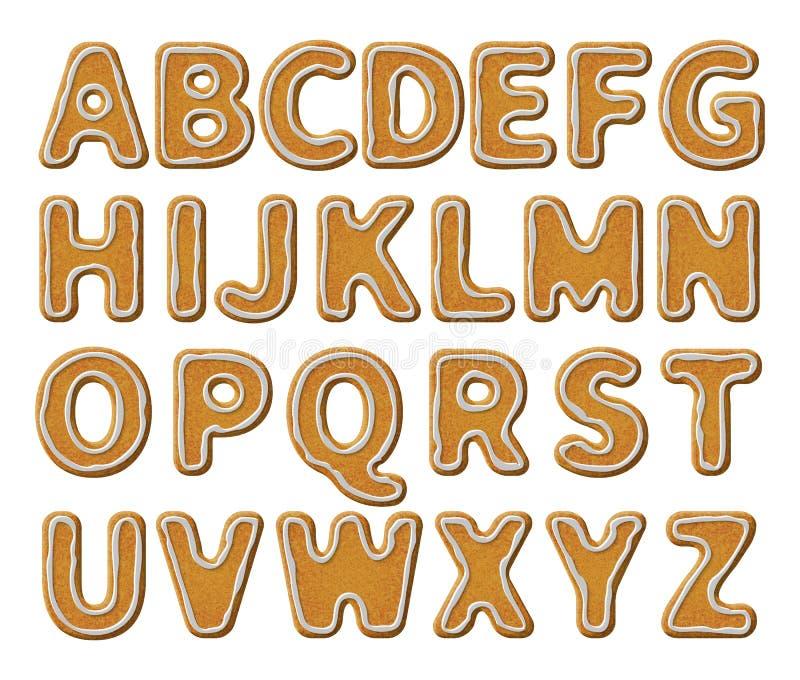 Αλφάβητο μελοψωμάτων με το λούστρο στοκ εικόνες