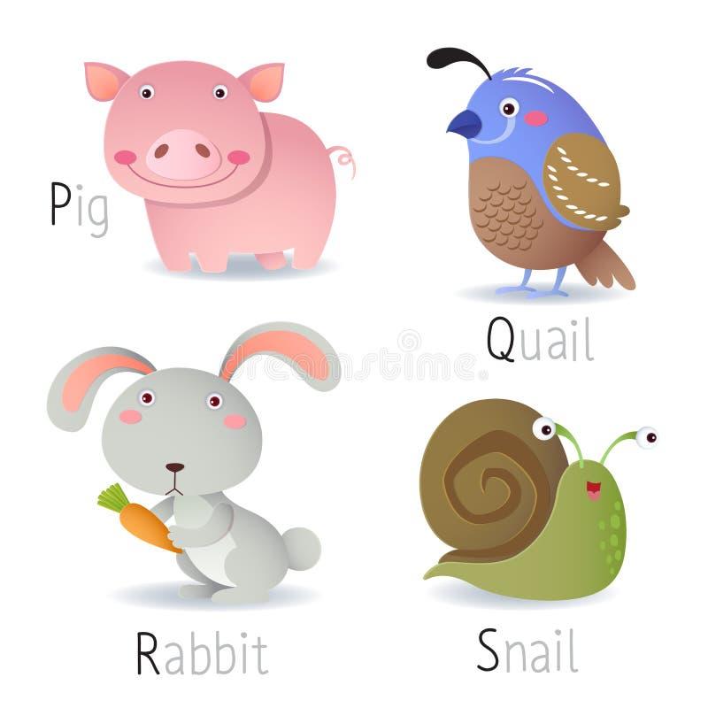 Αλφάβητο με τα ζώα από το Π στο S διανυσματική απεικόνιση