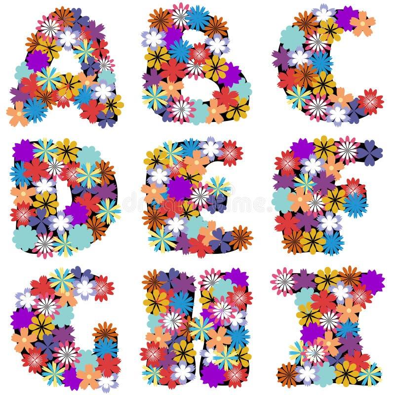 Αλφάβητο με τα λουλούδια στο άσπρο υπόβαθρο απεικόνιση αποθεμάτων