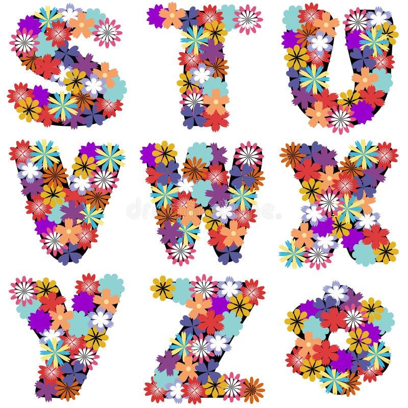 Αλφάβητο με τα λουλούδια στο άσπρο υπόβαθρο ελεύθερη απεικόνιση δικαιώματος