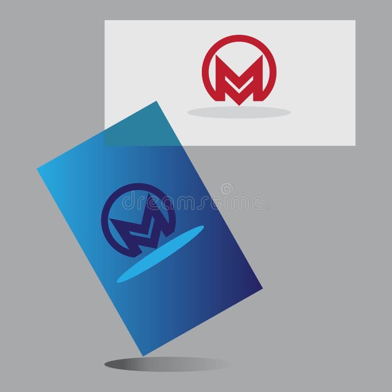 Αλφάβητο Μ με το λογότυπο επαγγελματικών καρτών διανυσματική απεικόνιση