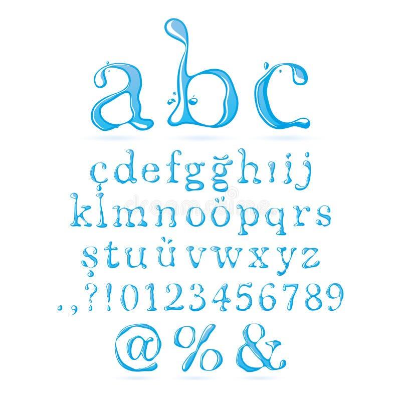Αλφάβητο νερού πεζό διανυσματική απεικόνιση