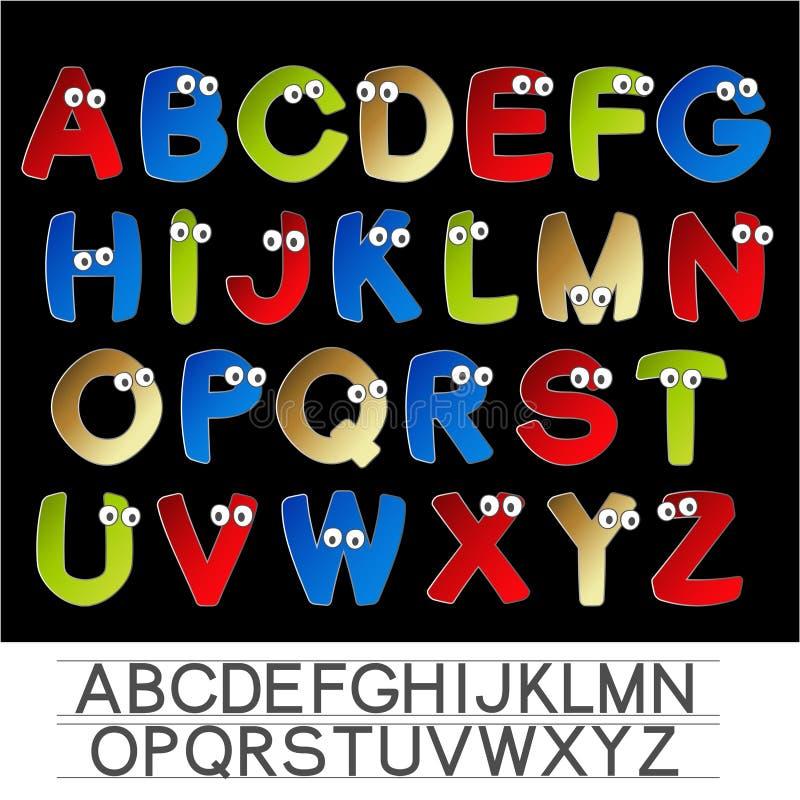 Αλφάβητο πηγών χρώματος με τα μάτια απεικόνιση αποθεμάτων