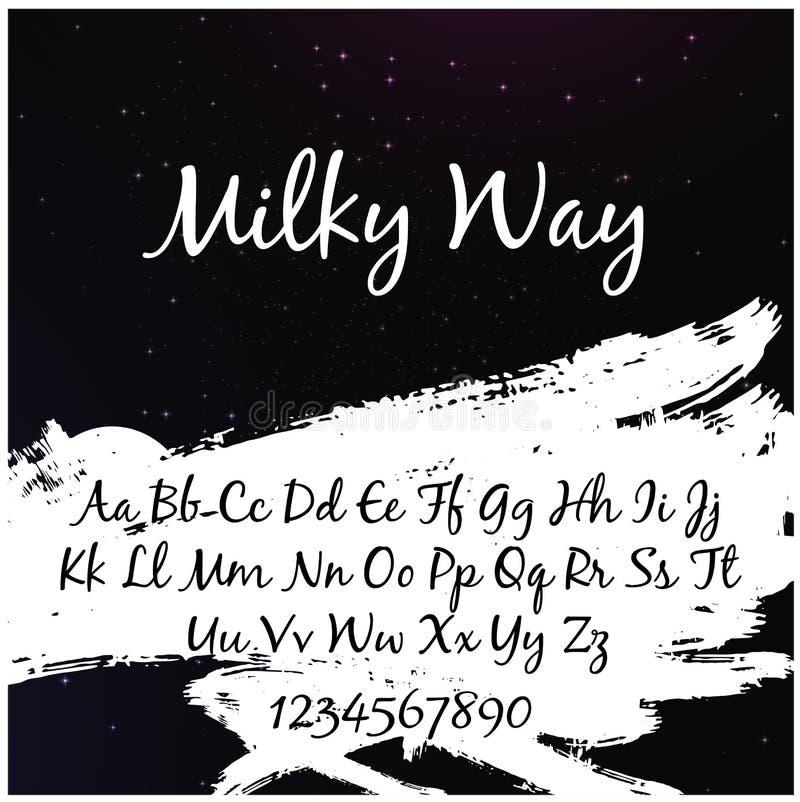 Αλφάβητο στο ύφος του γαλακτώδους τρόπου με το γαλακτώδη τρόπο ` λέξεων ` στοκ εικόνα με δικαίωμα ελεύθερης χρήσης