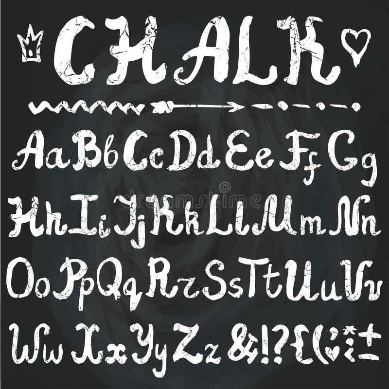 αλφάβητο Συρμένες χέρι επιστολές κιμωλίας chalkboard διανυσματική απεικόνιση