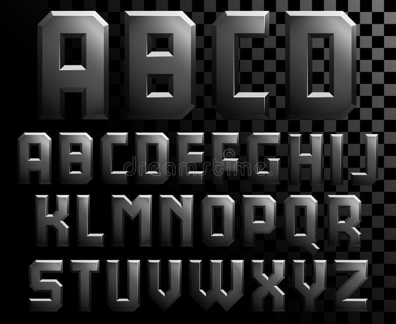 Αλφάβητο των επιστολών μετάλλων διανυσματική απεικόνιση
