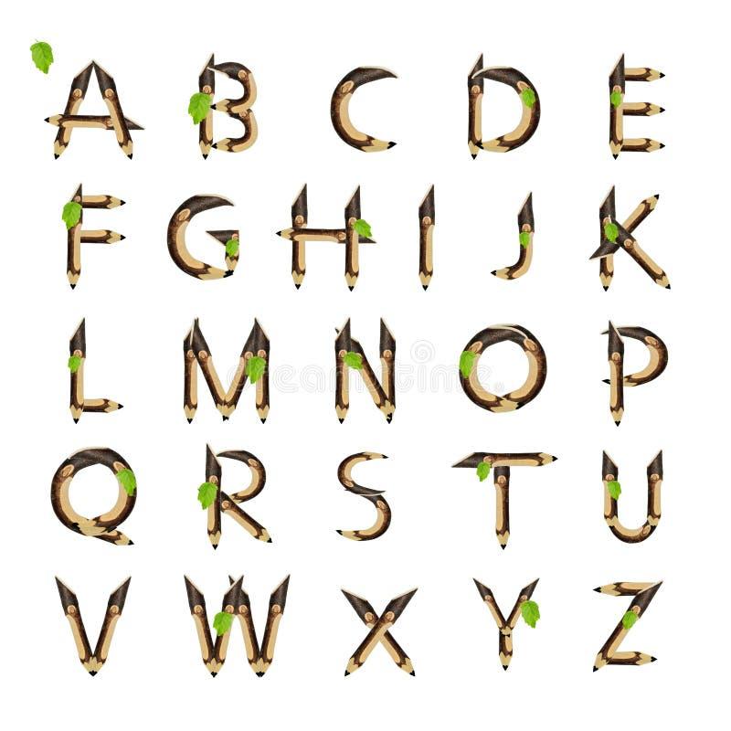 Αλφάβητο φιαγμένο από ξύλινες επιστολές που απομονώνονται στο άσπρο υπόβαθρο διανυσματική απεικόνιση