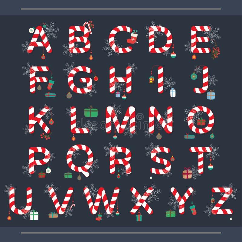 Αλφάβητο Χριστουγέννων, καραμέλα Χριστουγέννων στοκ φωτογραφία