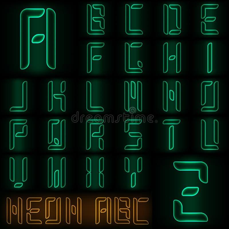 Αλφάβητο ύφους νέου ελεύθερη απεικόνιση δικαιώματος