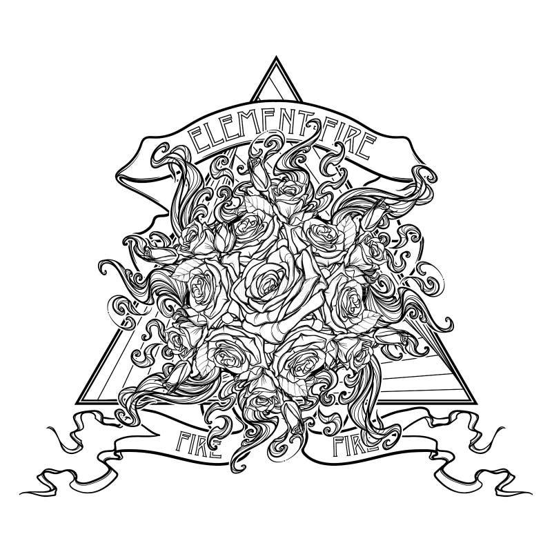 Αλχημικό στοιχείο του σημαδιού πυρκαγιάς Τρίγωνο που δείχνει επάνω με τις ροδαλές φλόγες γιρλαντών και ήλιων Κορδέλλα με το σημάδ διανυσματική απεικόνιση