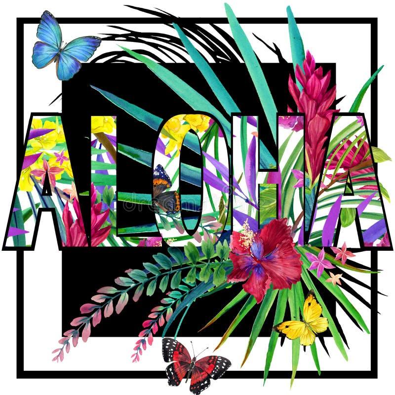 αλόης Σχέδιο πουκάμισων γραμμάτων Τ Aloha Τροπικό watercolor εγκαταστάσεων ελεύθερη απεικόνιση δικαιώματος