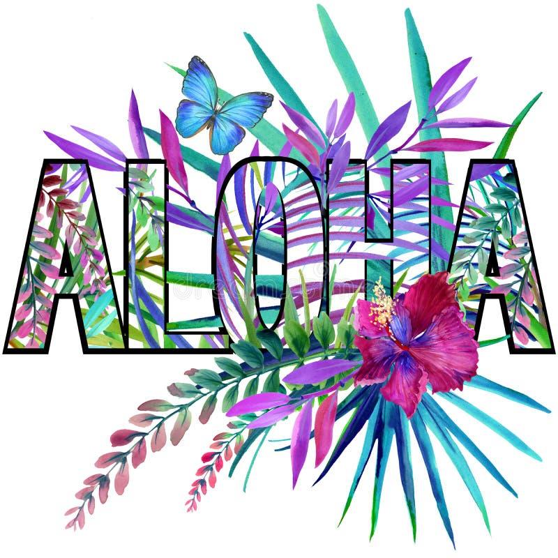αλόης Σχέδιο πουκάμισων γραμμάτων Τ Aloha Τροπικό watercolor εγκαταστάσεων διανυσματική απεικόνιση