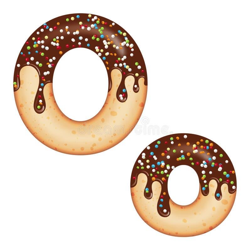 Βάζοντας στον πειρασμό τυπογραφία Σχέδιο πηγών τρισδιάστατο doughnut γράμμα Ο που βερνικώνεται με την κρέμα και την καραμέλα σοκο απεικόνιση αποθεμάτων