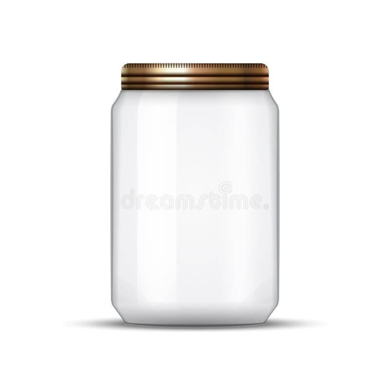 Βάζο γυαλιού για την κονσερβοποίηση και τη συντήρηση Διανυσματικό κενό πρότυπο σχεδίου βάζων με την κάλυψη ή το καπάκι διανυσματική απεικόνιση