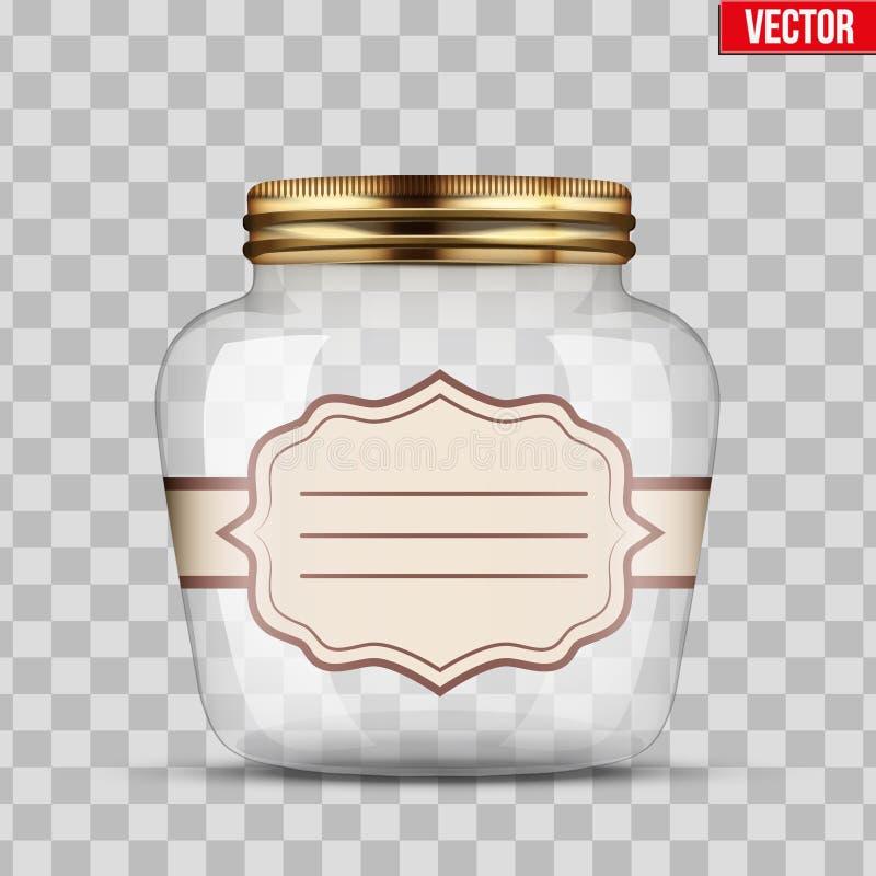 Βάζο γυαλιού για την κονσερβοποίηση με την ετικέτα ελεύθερη απεικόνιση δικαιώματος