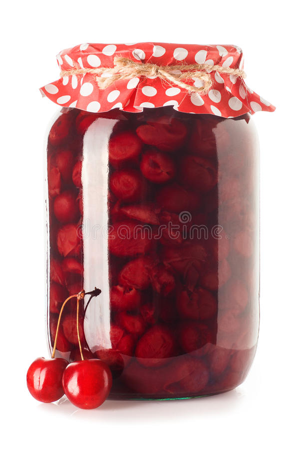 Βάζο γυαλιού της μαρμελάδας κερασιών στοκ εικόνα με δικαίωμα ελεύθερης χρήσης
