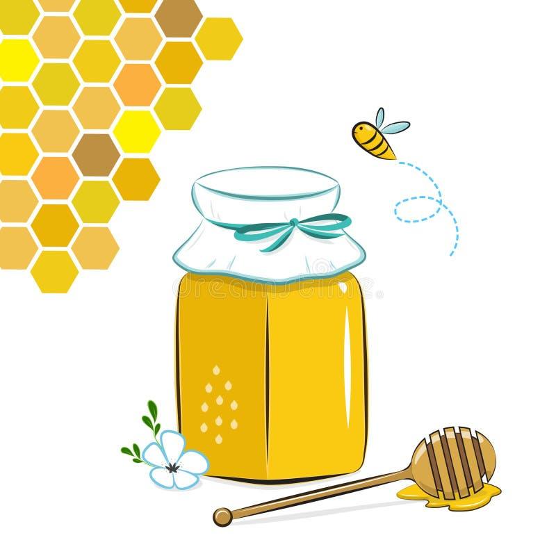 Βάζο, κηρήθρα και μέλισσα μελιού Μέλι στο βάζο με dipper μελιού ελεύθερη απεικόνιση δικαιώματος
