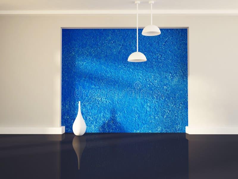 Βάζο κοντά στον μπλε τοίχο, τρισδιάστατο ελεύθερη απεικόνιση δικαιώματος