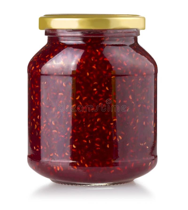 Βάζο μαρμελάδας φραουλών που απομονώνεται στοκ φωτογραφία με δικαίωμα ελεύθερης χρήσης