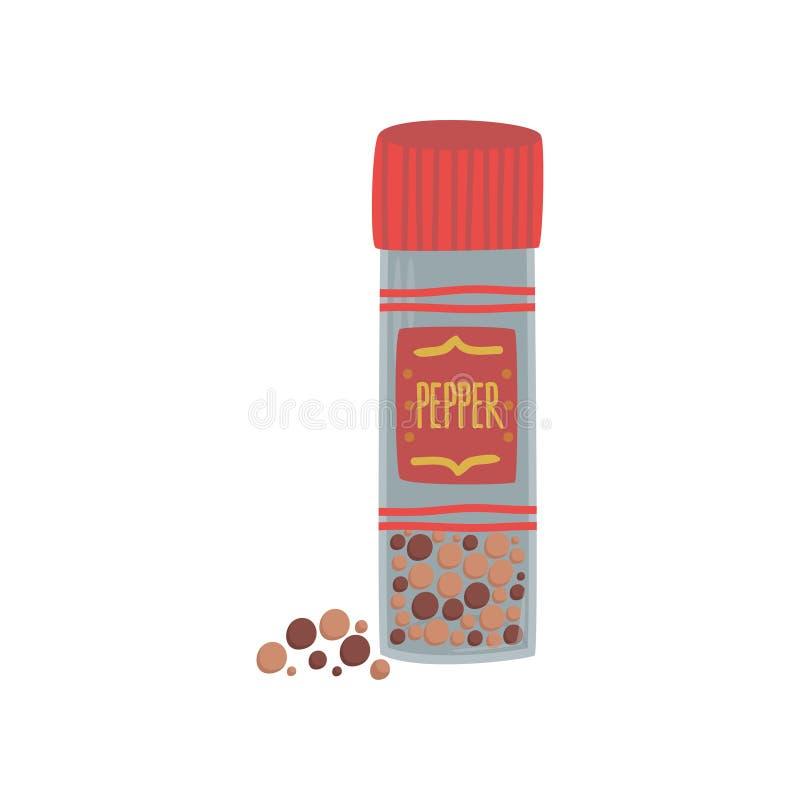 Βάζο με ζωηρόχρωμο peppercorn, το χορτάρι καρυκευμάτων, το στοιχείο για το εστιατόριο ή το σχέδιο επιλογών κουζινών, διανυσματική ελεύθερη απεικόνιση δικαιώματος