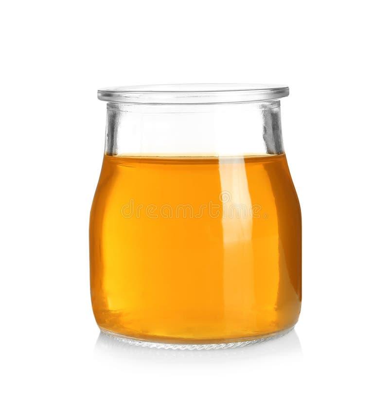 Βάζο με τη νόστιμη ζελατίνα στο λευκό στοκ εικόνα