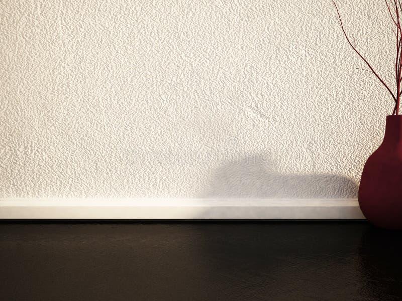 Βάζο με τους κλάδους στο πάτωμα, τρισδιάστατο διανυσματική απεικόνιση