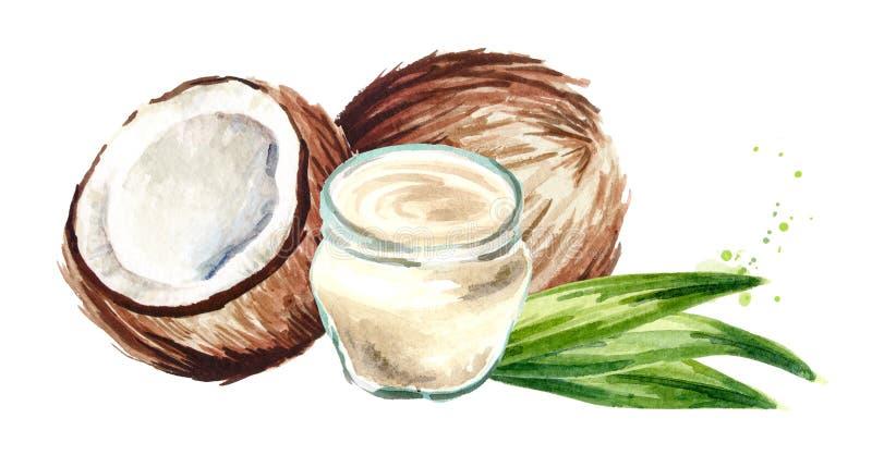 Βάζο με το έλαιο και το καρύδι καρύδων Συρμένη χέρι απεικόνιση Watercolor που απομονώνεται στο άσπρο υπόβαθρο ελεύθερη απεικόνιση δικαιώματος