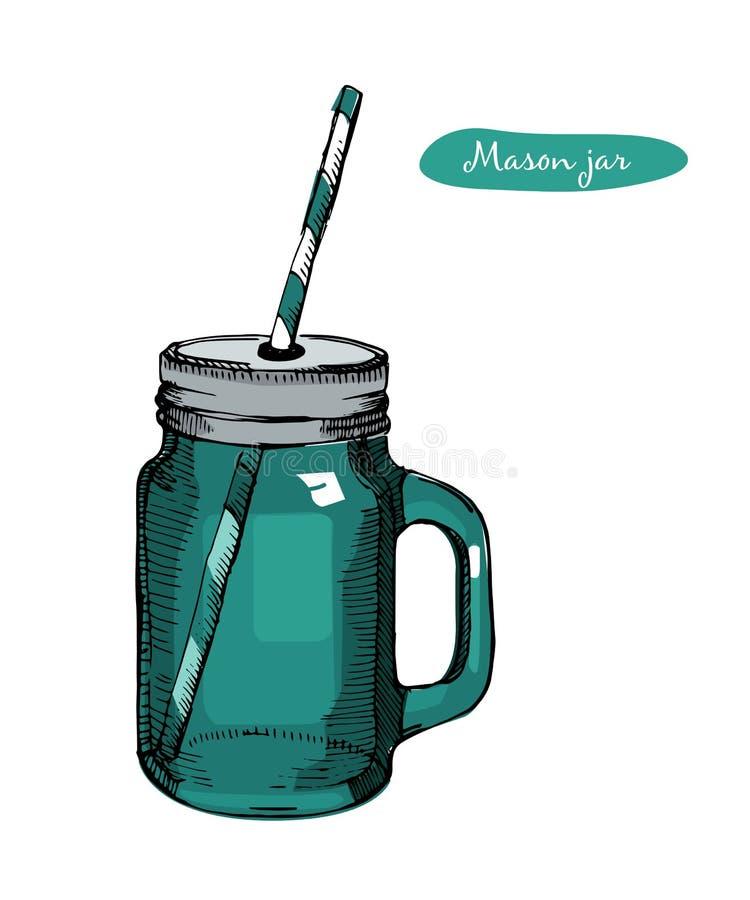 Βάζο του Mason γυαλιού με τη λαβή, άχυρο κατανάλωσης για το κοκτέιλ και λεμονάδα και καταφερτζής Για τις επιλογές φραγμών και εστ ελεύθερη απεικόνιση δικαιώματος