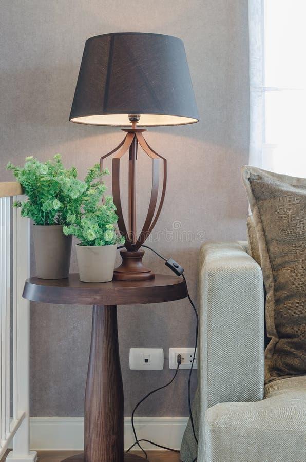 Βάζο των εγκαταστάσεων με τον ξύλινο λαμπτήρα από την ξύλινη επιτραπέζιους πλευρά και τον κλασικό στοκ φωτογραφία