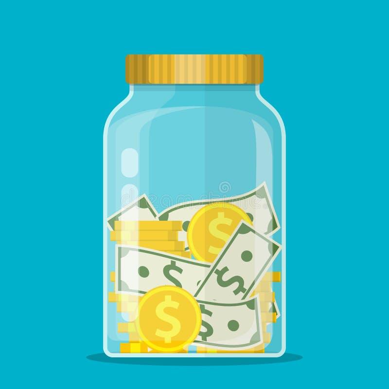 Βάζο χρημάτων Νόμισμα δολαρίων αποταμίευσης στο βάζο ελεύθερη απεικόνιση δικαιώματος