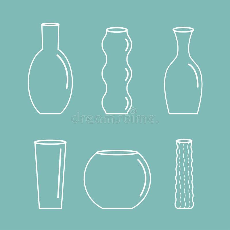 Βάζων περιλήψεων εικονιδίων καθορισμένο κεραμικό αγγειοπλαστικής γυαλιού λουλουδιών επίπεδο σχέδιο υποβάθρου διακοσμήσεων μπλε απεικόνιση αποθεμάτων