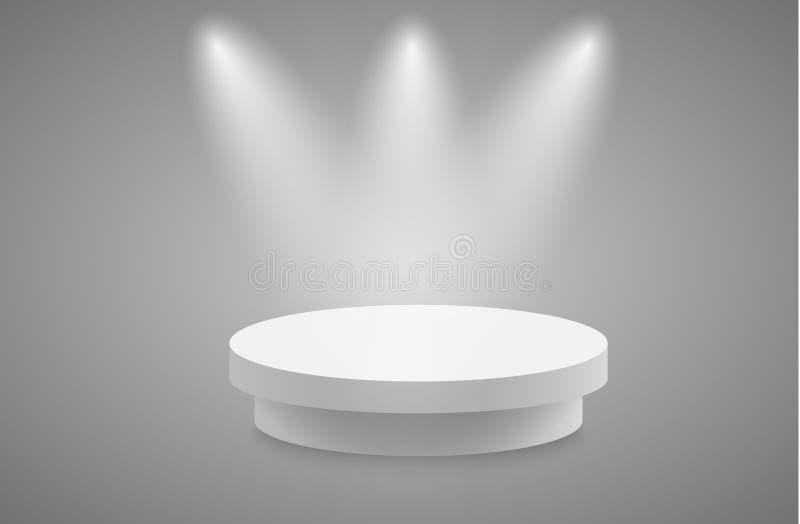 Στρογγυλό βάθρο Σκηνική εξέδρα με το φωτισμό Βάθρα αιθουσών εκθέσεως διανυσματική απεικόνιση