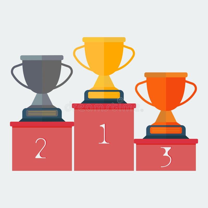 Βάθρο εικονιδίων με τα φλυτζάνια για την πρώτη, δεύτερη και τρίτη θέση Φλυτζάνι χρυσού, ασημιών και χαλκού Βραβείο για τους πρωτο απεικόνιση αποθεμάτων
