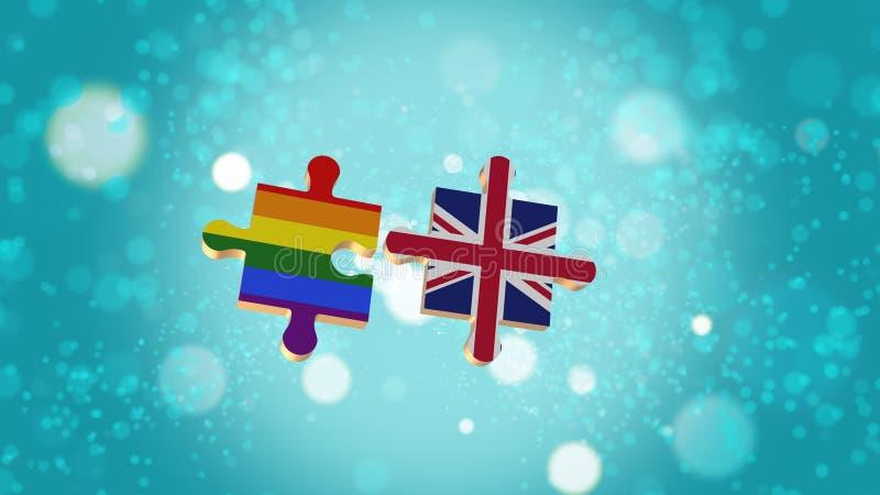 Βάλτε το γρίφο σε LGBT και τη βρετανική σημαία διανυσματική απεικόνιση
