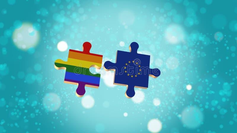Βάλτε το γρίφο στη σημαία LGBT και της Ευρωπαϊκής Ένωσης διανυσματική απεικόνιση