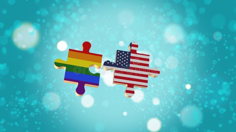 Βάλτε το γρίφο στη σημαία LGBT και των ΗΠΑ διανυσματική απεικόνιση