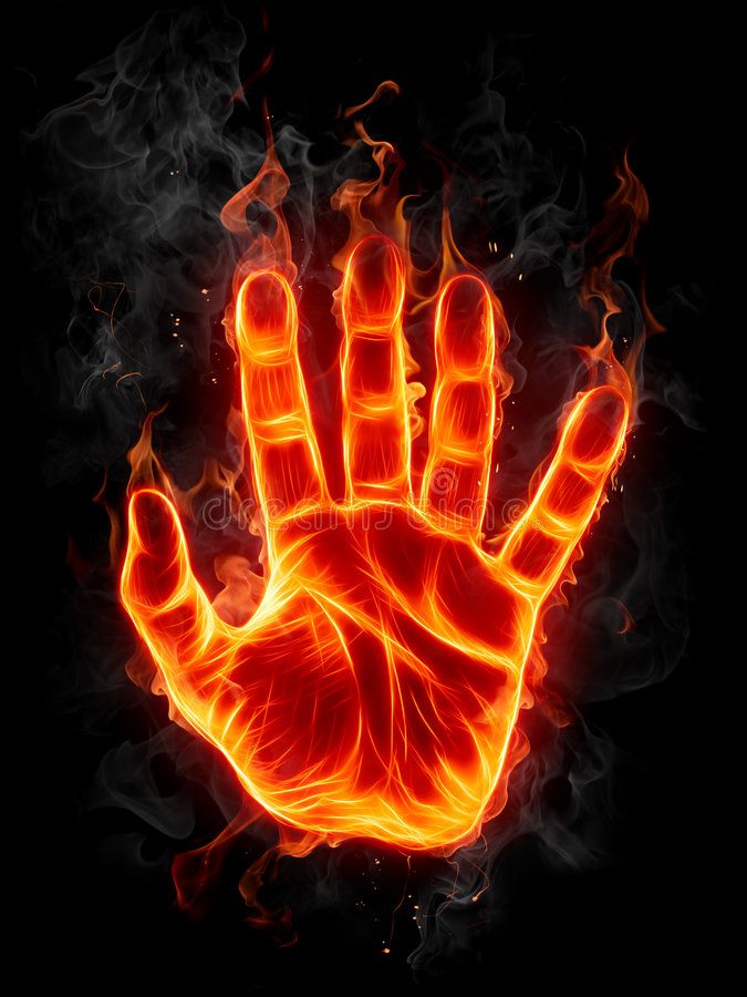 βάλτε φωτιά στο χέρι διανυσματική απεικόνιση