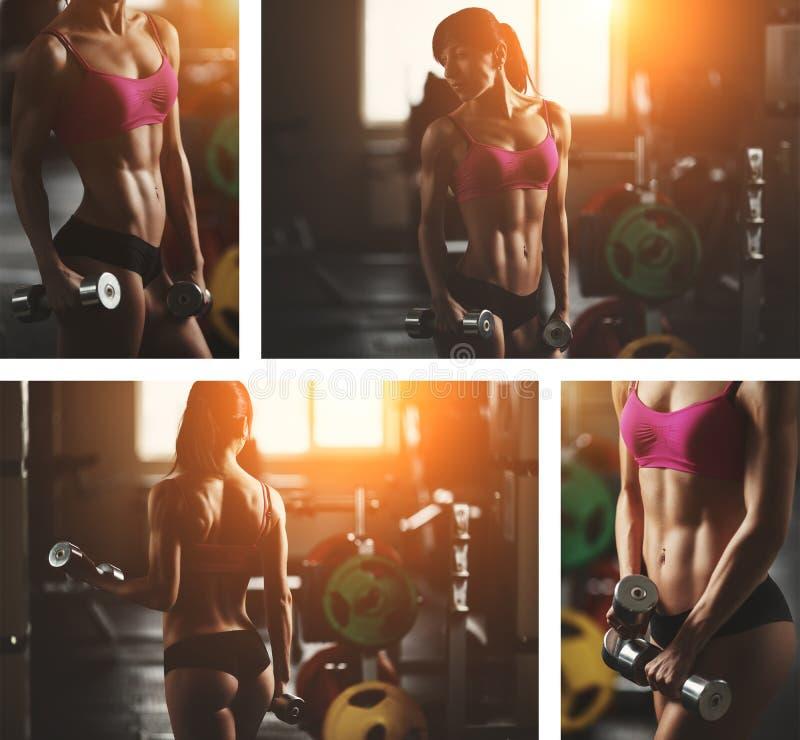 Βάναυση αθλητική γυναίκα που αντλεί επάνω τους μυς με στοκ εικόνες με δικαίωμα ελεύθερης χρήσης
