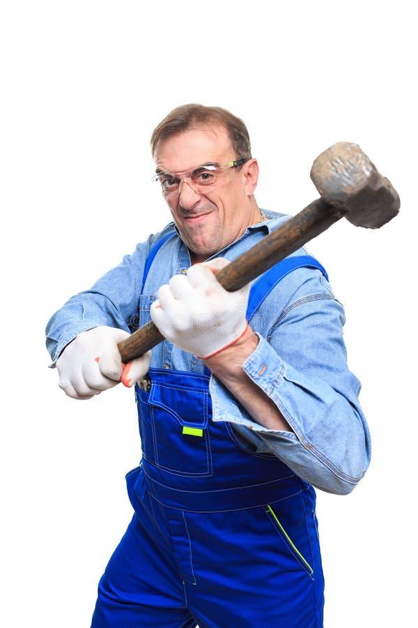 Βάναυσοι εργαζόμενοι στα προστατευτικά γυαλιά με το α στοκ εικόνα με δικαίωμα ελεύθερης χρήσης