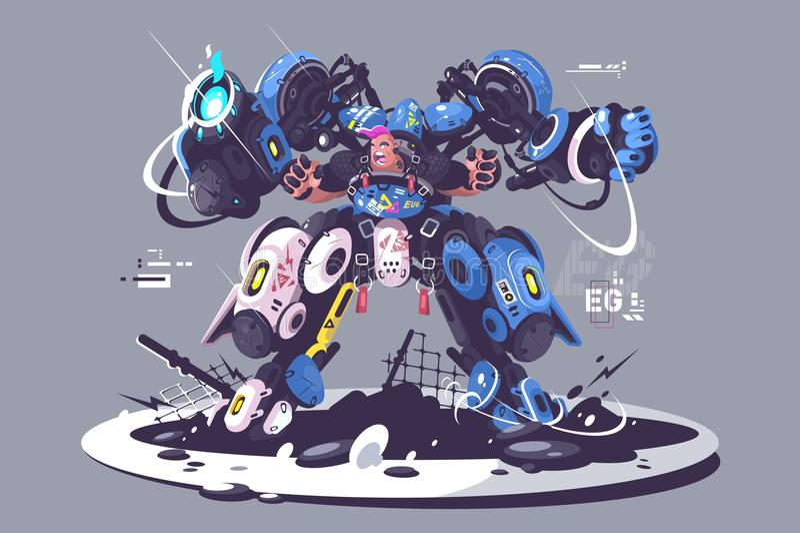 Βάναυσος τύπος exoskeleton αγώνα διανυσματική απεικόνιση