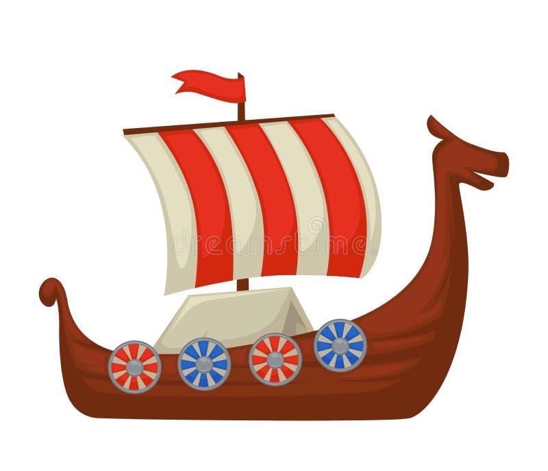 Βάρκα ή σκάφος Βίκινγκ με την ασπίδα εν πλω και το ριγωτό πανί απεικόνιση αποθεμάτων