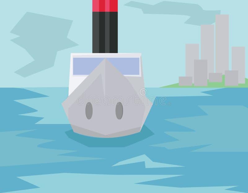 Βάρκα ακτοφυλακής στο νερό ελεύθερη απεικόνιση δικαιώματος